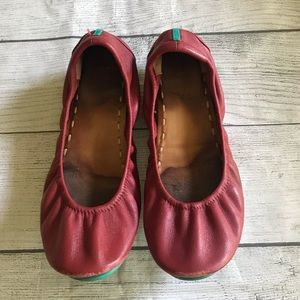 Tieks Red Leather Flats Ballet Shoes Size 8